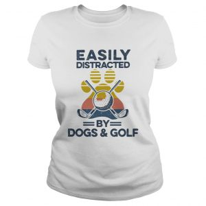 Easily Distracted By Dogs And Golf Footprint Vintage Retro  Classic Ladies