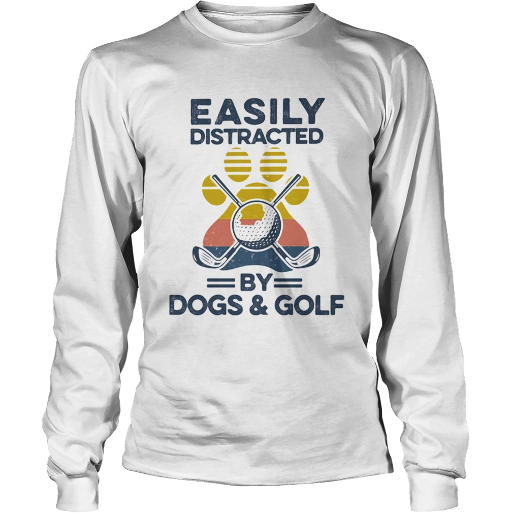 Easily Distracted By Dogs And Golf Footprint Vintage Retro  Long Sleeve