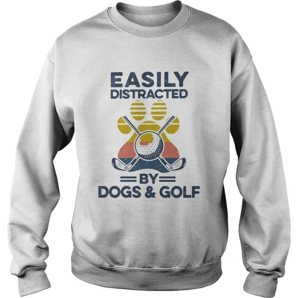 Easily Distracted By Dogs And Golf Footprint Vintage Retro  Sweatshirt