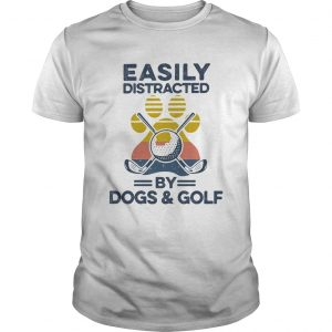 Easily Distracted By Dogs And Golf Footprint Vintage Retro  Unisex