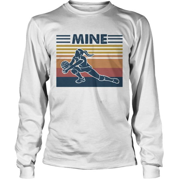 Love volleyball mine vintage retro  Long Sleeve
