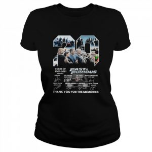 Fast and Furious 20 Years Of 2001 2021 Thank You For The Memories Signature  Classic Women's T-shirt