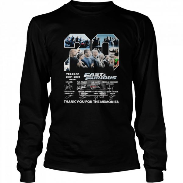 Fast and Furious 20 Years Of 2001 2021 Thank You For The Memories Signature  Long Sleeved T-shirt