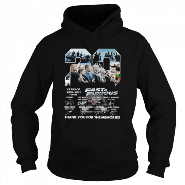 Fast and Furious 20 Years Of 2001 2021 Thank You For The Memories Signature  Unisex Hoodie