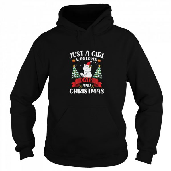 Just A Girl Who Loves Cat And Christmas Gift Christmas  Unisex Hoodie
