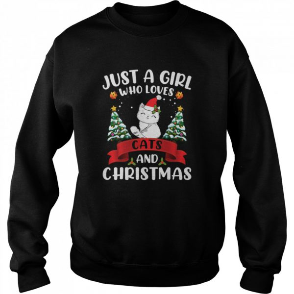 Just A Girl Who Loves Cat And Christmas Gift Christmas  Unisex Sweatshirt