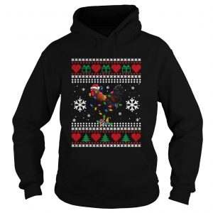 Ugly Christmas Rooster Chicken Santa Hat Lights Xmas  Hoodie