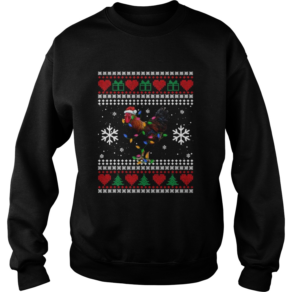 Ugly Christmas Rooster Chicken Santa Hat Lights Xmas  Sweatshirt