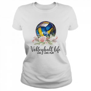 #58 volleyball life live love play floral  Classic Women's T-shirt