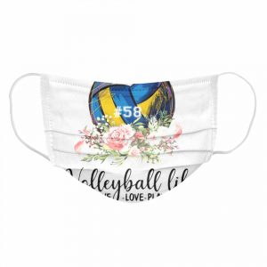 #58 volleyball life live love play floral  Cloth Face Mask