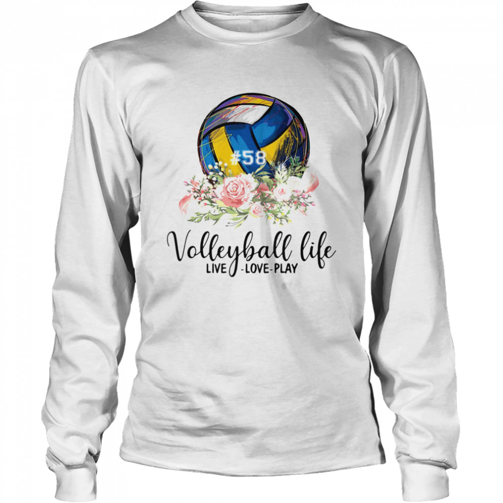 #58 volleyball life live love play floral  Long Sleeved T-shirt