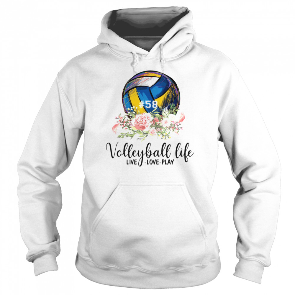 #58 volleyball life live love play floral  Unisex Hoodie