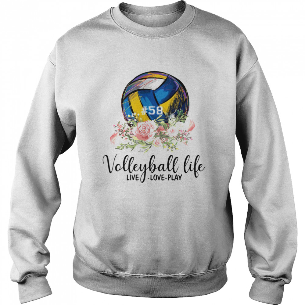 #58 volleyball life live love play floral  Unisex Sweatshirt